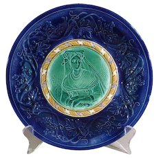 Antique Majolica Cobalt Blue Plate