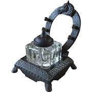 Antique Peck, Stow & Wilcox Co. Horseshoe Inkwell Stand with Pressed Glass Ink Reservoir