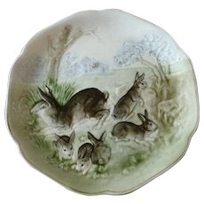 Antique French Majolica Bunny Plate - Red Tag Sale Item
