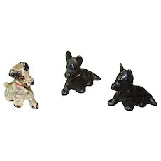 Collection of Three Miniature HUBLEY Dog Cast Iron Place Card Holders Paperweight