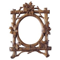 Antique Miniature Black Forest Picture Frame Folk Art Hand Carved