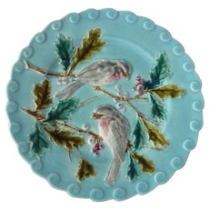 Antique French Sarreguemines Majolica Plate with Birds on  Holly Branches