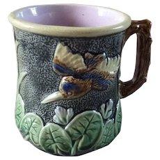 Antique Majolica Cup Mug Pond Lily & Flying Bird