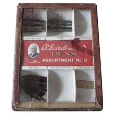 Vintage R Esterbrook Co. Pen Nib Store Display Case with Nibs
