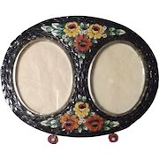 Vintage Micro Mosaic Picture Frame ~ Double Oval Opening