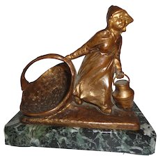 French Bronze of Young Lady by Mednat