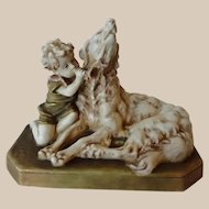 Royal Dux Figure Boy and Hound