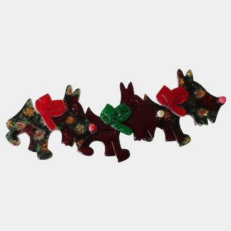 Lea Stein Rare Tripple Scottie Dog Brooch