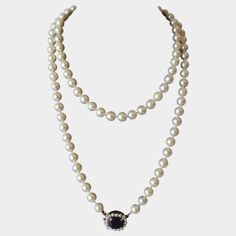 Vintage Akoya Cultured Pearl Necklace with Sapphire