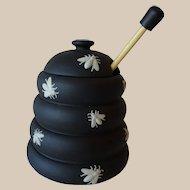 Vintage Wedgwood Black Basalt Honey Pot