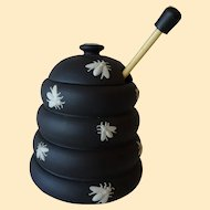 Vintage Wedgwood Black Basalt Honey Pot