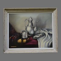 Oil on Canvas Still Life by Marie Linnell