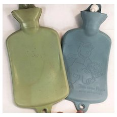 """Pair of Green & Blue Baby Hot Water Bottles """"This Little Piggy Went to Market"""""""