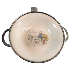 """Colonial Plate Baby Warming Dish Bowl """"This Little Pig Went to Market"""""""