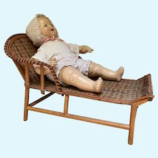 Doll's Bamboo Wicker Rattan Chaise Lounge
