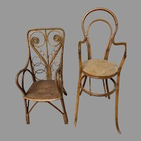 Doll's Rattan Bamboo Chair & Highchair