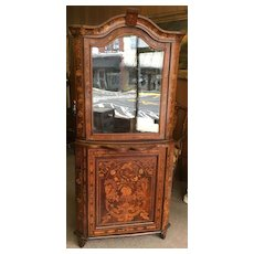 Dutch Mahogany and Marquetry Corner Cupboard or Cabinet