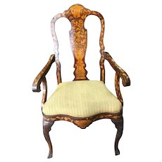 Dutch Mahogany and Marquetry 18th Century Open Armchair