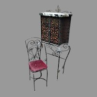 Iron Telephone Stand & Chair after Oscar Bach