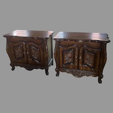 Pair Carved French Country Nightstands Bedside Stands End Tables