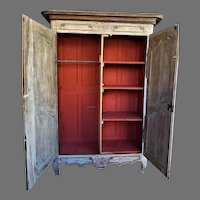 19th Century Retrofitted Scrubbed Pine French Wardrobe