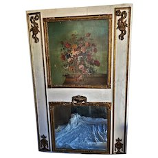 Vtg Hand Painted Floral Painted Trumeau Mirror