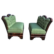 Matched Pair Empire Armless Settees Loveseats
