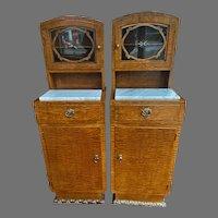 European Pair Burled Wood Veneer Marble Top End/Bedside Tables