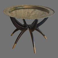 Mid-Century Round Brass Tray Table w/ Spider Leg Stand