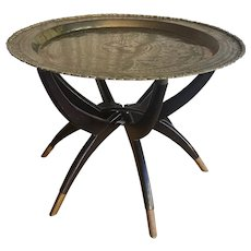 Mid-Century Round Brass Tray Table w/ Spider Leg Stand