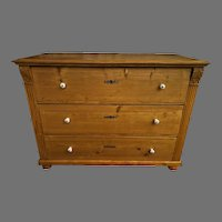 19th Century European Country Pine 3 Drawer Chest
