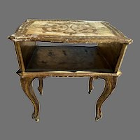 Florentine Gold & White Telephone End Side Table w/ Shelf
