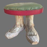 Folk Art Carved Feet Foot Stool