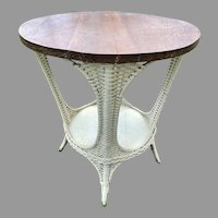 White Painted Wicker Table W/ Round Oak Top