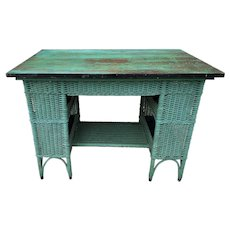 Mint Green Painted Wicker Desk/Table w/ Bookcase Ends