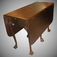 Mahogany Chippendale Style 6-leg Claw and Ball Drop Leaf Table