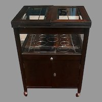 Vintage Bar Cart with Pop Up Center and Beveled Glass