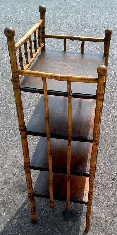 Antique Victorian Bamboo Oak Shelf Bookcase Red Tag Sale Item Sold