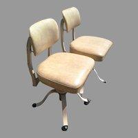 Industrial Medical Mid Century Modern Vintage Remington Rand Office Chair Set