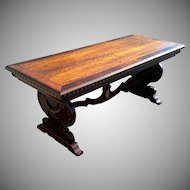 Mahogany Refectory Trestle Library Table Desk