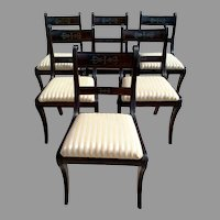 Set of Six Regency Style Mahogany Dining Chairs with Inlaid Brass