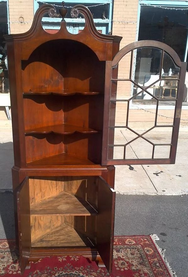Colonial Revival Mahogany Corner Cupboard Cabinet The