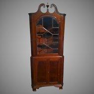 Colonial Revival Mahogany Corner Cupboard Cabinet
