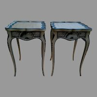 Pair of Tea Tables with French Style Paint Cabriole Legs and Candle Slides
