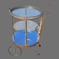 Vintage Brass and Glass Revolving Bar Cart Tea Cart Dessert Cart