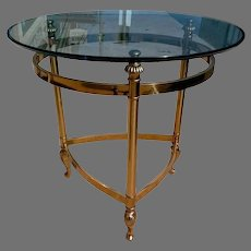 Italian Brass and Glass Round Side Table