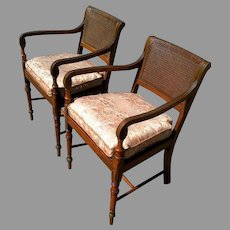 Pair of Edwardian Satinwood Painted Cane Seat Open Armchairs