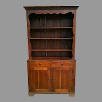 Large Early Pine Stepback Cupboard or Cabinet