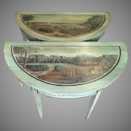 Pair of Stunning Gustavian Style Painted Demilune Tables