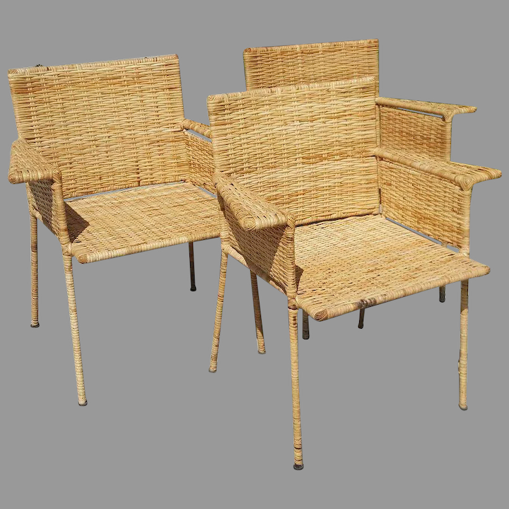 Van Keppel And Green Wicker Wrought Iron Chairs Set Of 3 The Moody Carpenter Ruby Lane